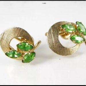 Vintage Gold Filled Rhinestone Screw Back Earrings
